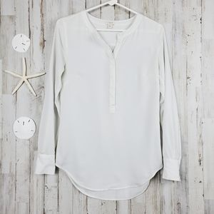 J. Crew V-neck Long Sleeve Chiffon Blouse XXS